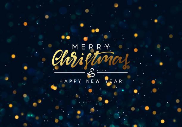 ilustrações, clipart, desenhos animados e ícones de fundo do natal com bokeh dourado das luzes. - new year