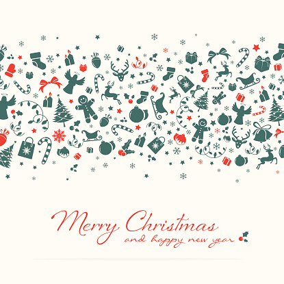 Christmas background with green red icons