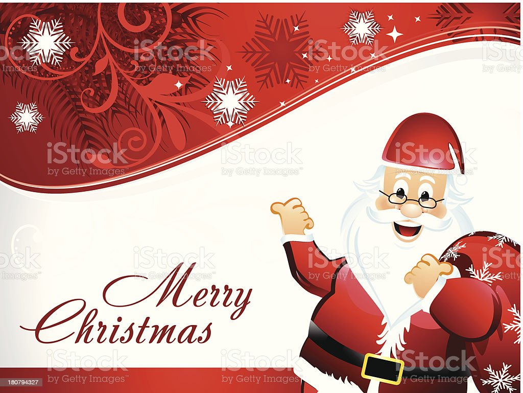 Christmas background with Happy Santa royalty-free christmas background with happy santa stock vector art & more images of beard