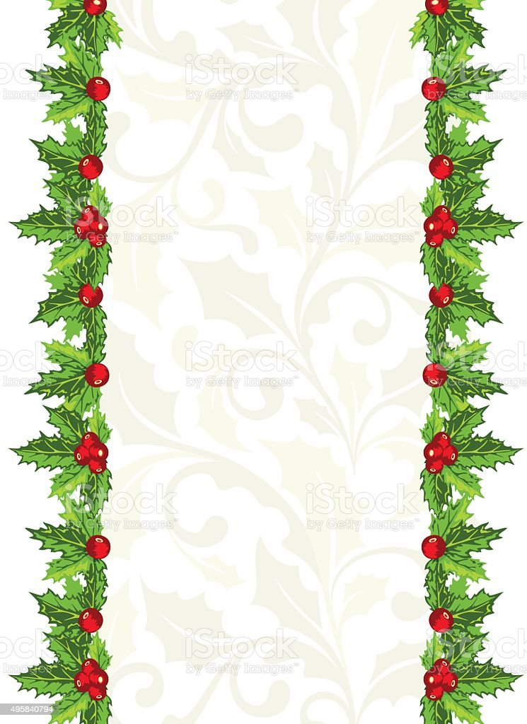 Christmas background with holly berries and leaves vector art illustration