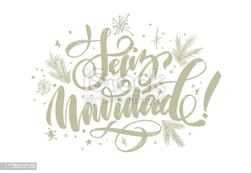 """istock christmas background with lettering """"merry christmas"""" in Spanish """"Feliz Navidad"""" for design of flyers, cards, web, postcard 1175512125"""