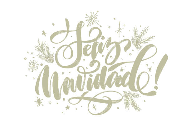 "christmas background with lettering ""merry christmas"" in Spanish ""Feliz Navidad"" for design of flyers, cards, web, postcard christmas background navidad stock illustrations"
