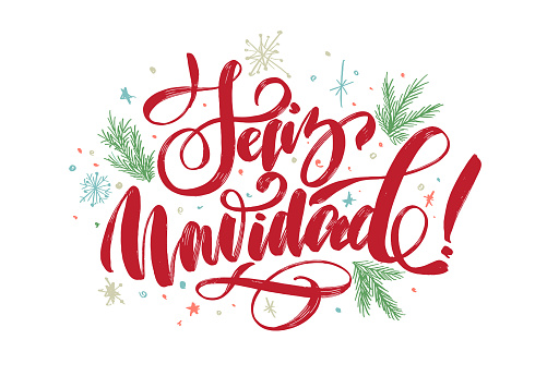 """christmas background with lettering """"merry christmas"""" in Spanish """"Feliz Navidad"""" for design of flyers, cards, web, postcard"""