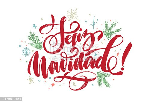 """istock christmas background with lettering """"merry christmas"""" in Spanish """"Feliz Navidad"""" for design of flyers, cards, web, postcard 1175512154"""