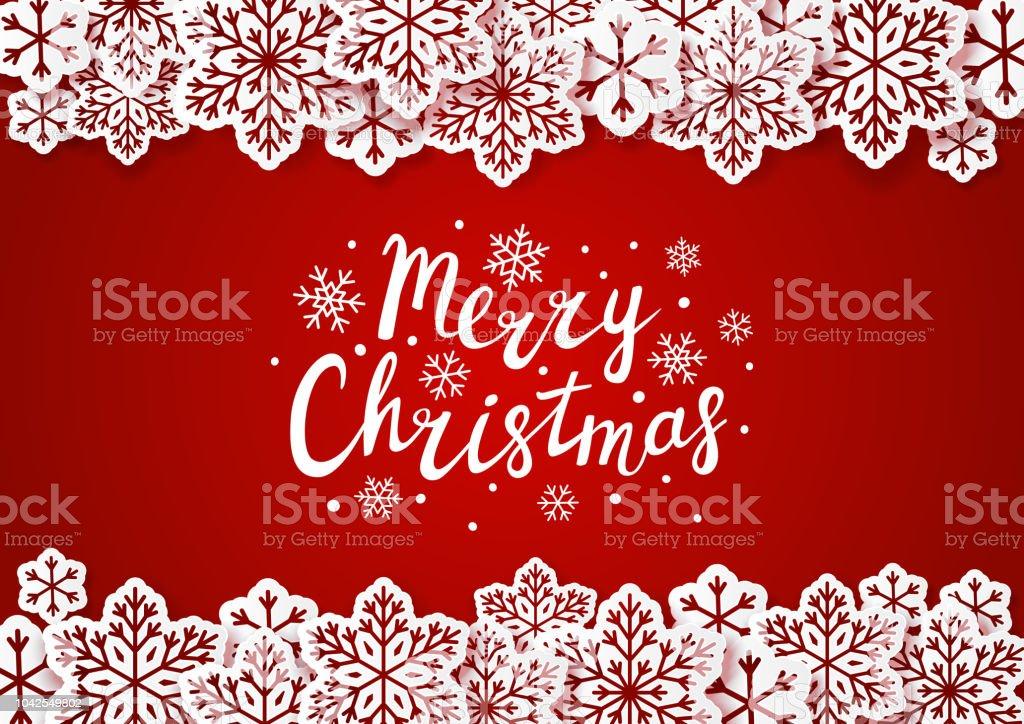 Weihnachten Hintergrund Mit Papier Schneeflocken Grenze Stock Vektor ...