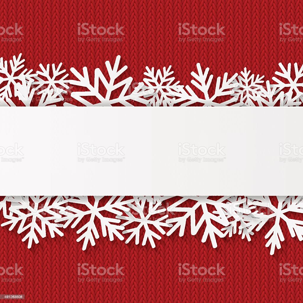 Christmas background with paper snowflakes vector art illustration