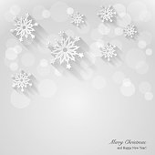 Christmas background with paper snowflakes. Vector