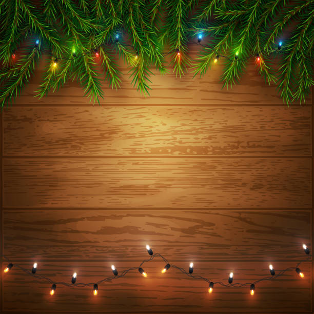 Christmas background with pine tree branches and colorful lights on wood, vector illustration Christmas background with pine tree branches and colorful lights on wood, vector illustration light through trees stock illustrations