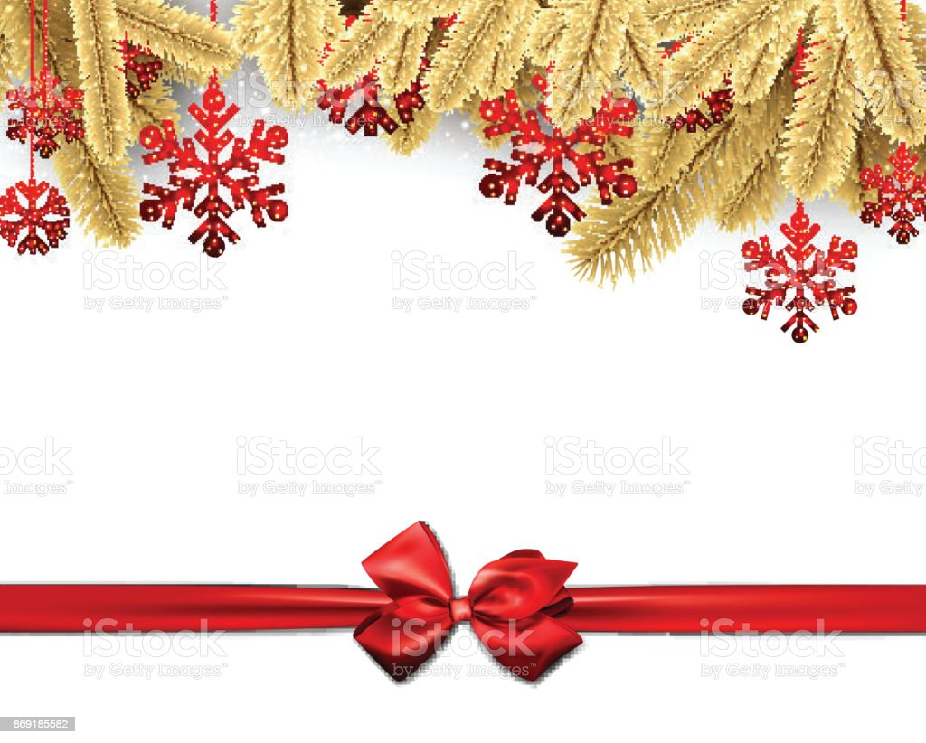 Christmas Background With Red Satin Bow Stock Vector Art 869185582