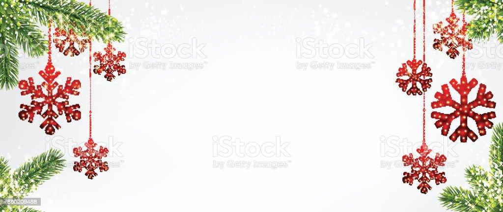 Fond de Noël avec des flocons de neige rouges. - Illustration vectorielle