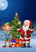 Vector illustration of Christmas background with Santa Claus and elf