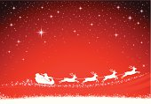 Vector illustration of Santa Claus and his sleigh on red christmas background. AI 10 file and Hi-res jpg included (XXXL 5200x3605px). File is layered.