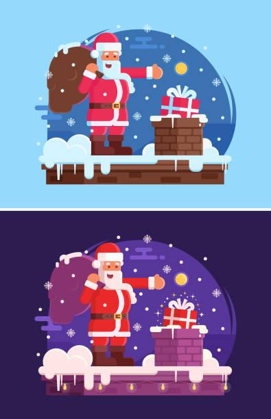 weihnachten hintergrund mit santa claus - kaminverkleidungen stock-grafiken, -clipart, -cartoons und -symbole
