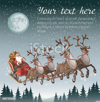 istock Christmas background with Santa driving his sleigh on winter night 495750590
