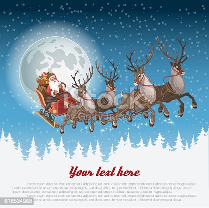 istock Christmas background with Santa driving his sleigh 618534968