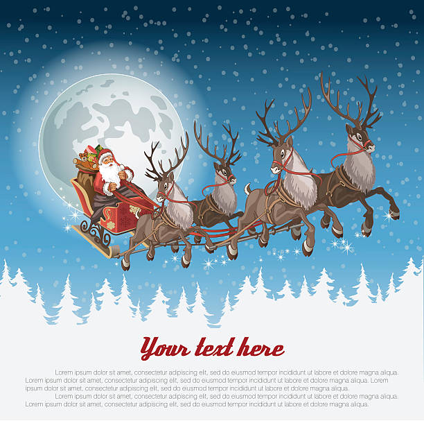 Christmas background with Santa driving his sleigh Christmas background with Santa driving his sleigh across the face of the moon on winter night and copy-space for your text sled stock illustrations
