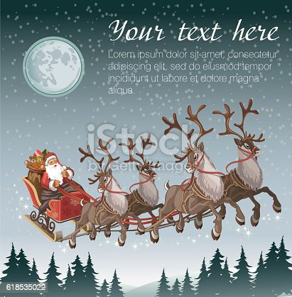istock Christmas background with Santa driving his sleigh 618535022