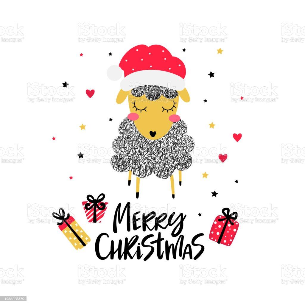 Weihnachten Hintergrund Mit Santa Schafe Stock Vektor Art und mehr ...