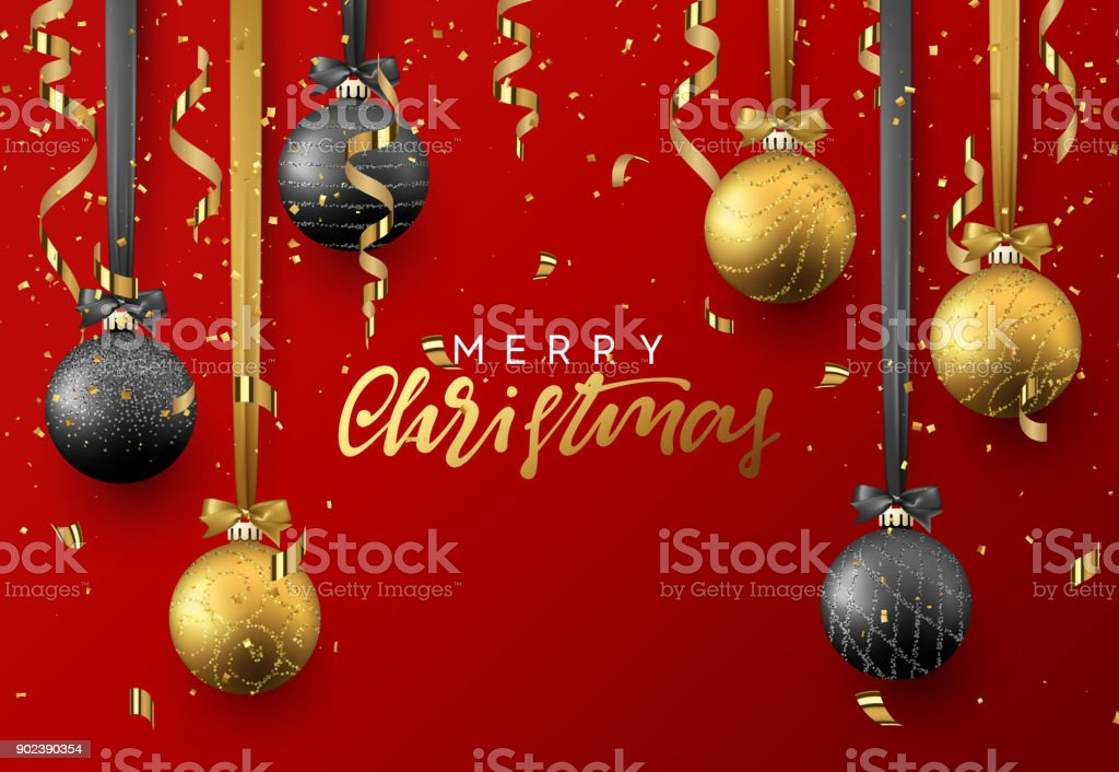 Christmas background with shining gold and black ball, serpentine and confetti. vector art illustration