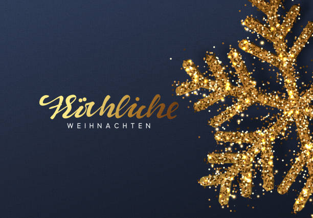 Christmas background with Shining gold Snowflakes. German text Frohliche Weihnachten Christmas background with Shining gold Snowflakes. German text Frohliche Weihnachten. Lettering Merry Christmas card vector Illustration. weihnachten stock illustrations
