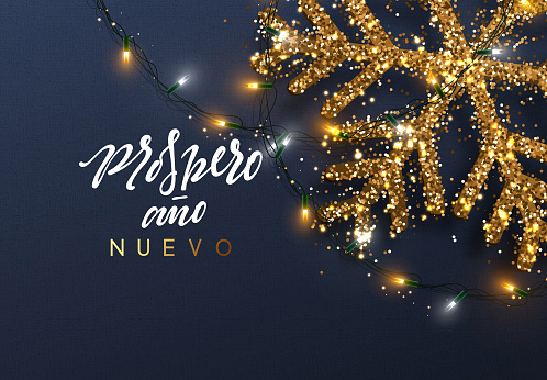 Christmas background with Shining gold Snowflakes. Spanish text Prospero ano Nuevo