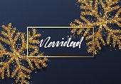 Christmas background with Shining gold Snowflakes. Spanish text Feliz Navidad