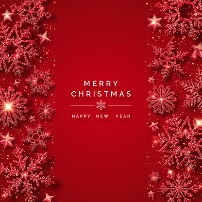 Christmas background with shining red snowflakes and snow. Merry Christmas card illustration on red background. Sparkling shiny snowflakes with glitter texture
