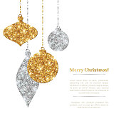 Merry Christmas Background with Silver and Gold Hanging Baubles. Vector illustration. Gold Glitter Texture. Sequins Pattern. Glowing Happy New Year Poster Invitation Template. Place for your Text.