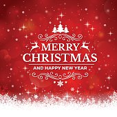 istock Christmas Background with Snowflakes on red background 486835400