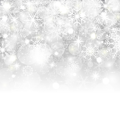 Christmas background with snowflakes, stars, snow and place for text. Vector Illustration