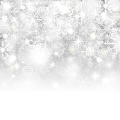 Christmas background with snowflakes, stars, snow and place for text. Vector Illustration.