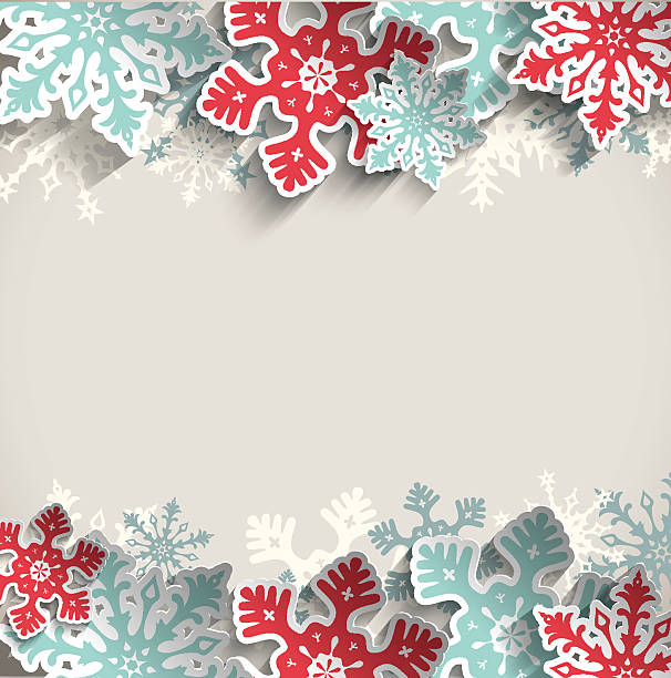 Christmas background with snowflakes, winter concept, illustration Abstract  blue and red snowflakes on beige background with 3D effect, winter concept, vector illustration, eps 10 with transparency december illustrations stock illustrations