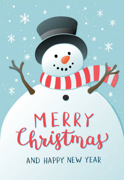 Christmas background with snowman. New year illustration. Christmas background with snowman and snowflakes on blue background. New year illustration. snowman stock illustrations
