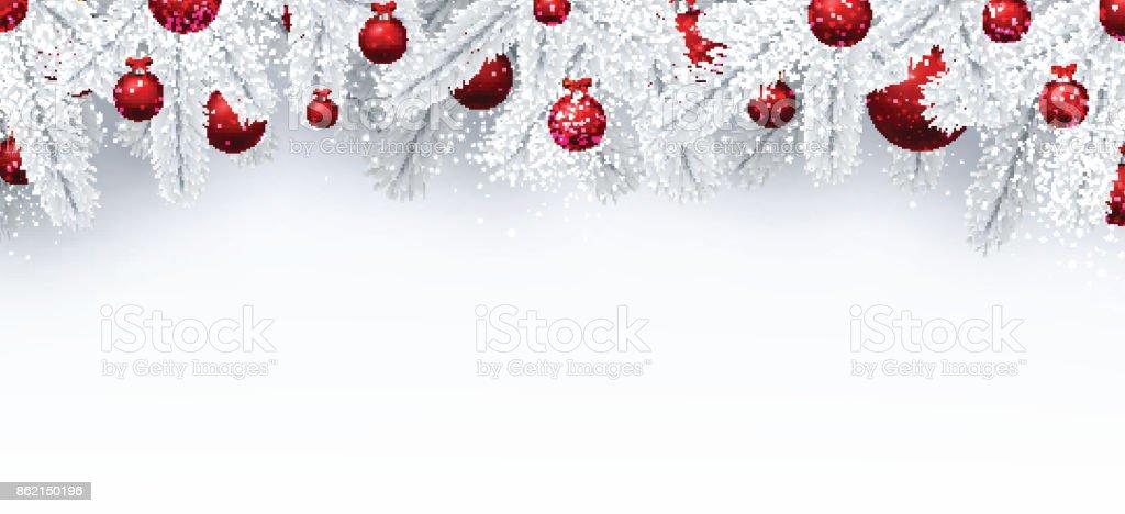 Weihnachten Hintergrund.Weihnachten Hintergrund Mit Fichte Zweige Und Kugeln Stock Vektor