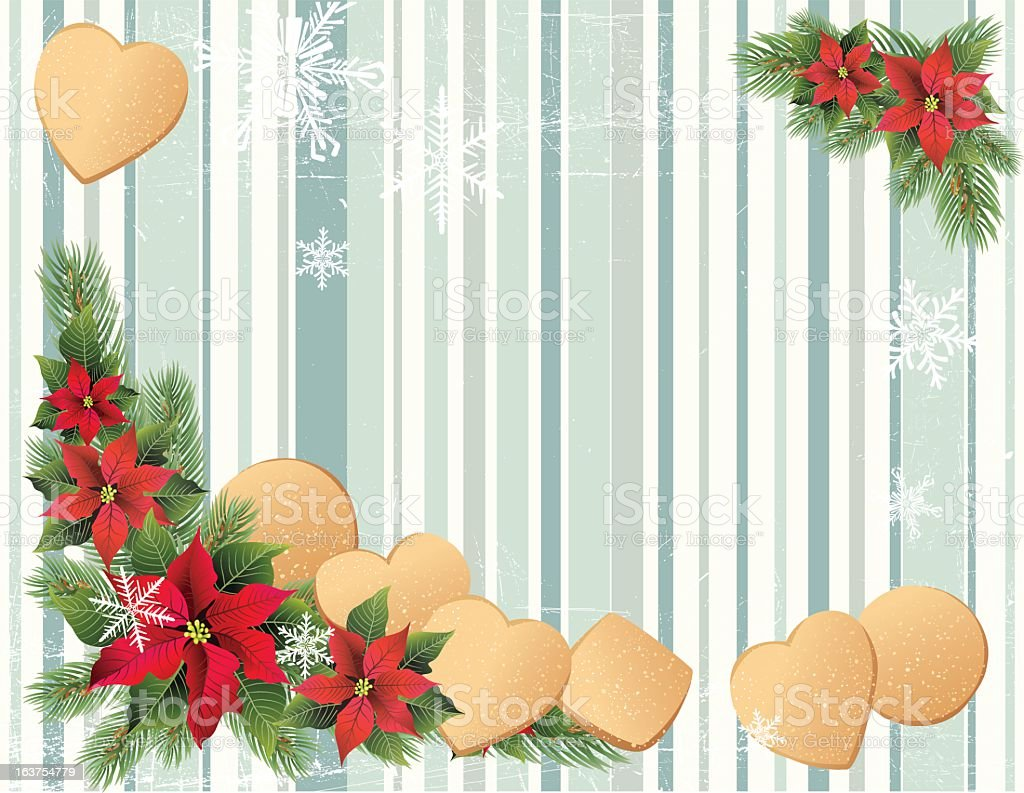 Christmas Background With Sugar Cookies & Poinsettias royalty-free stock vector art