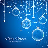 Blue Christmas background with transparent balls and decorations with stars, illustration.