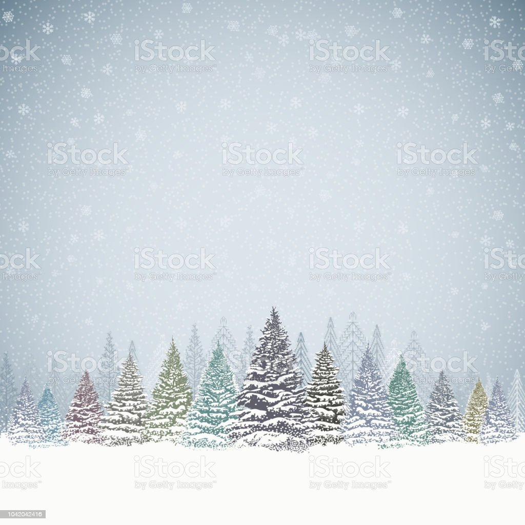 christmas background with trees and mountains stock vector art