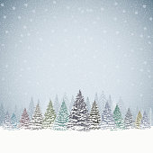 Christmas background with snowed trees and mountains. LAyered illustration - global colors - easy to edit.