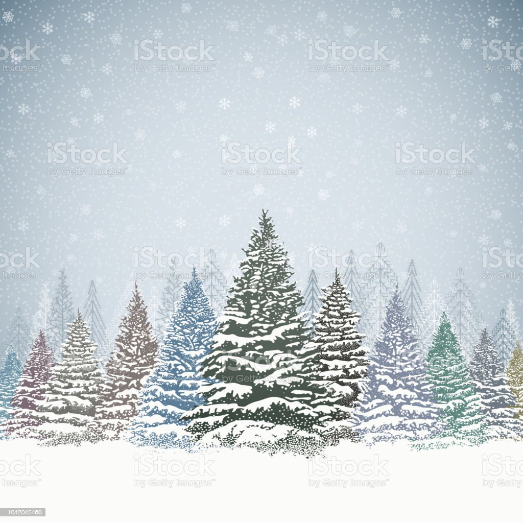 Christmas Background with Trees and Mountains vector art illustration