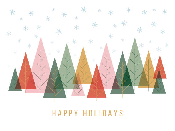 Christmas background with trees and snowflakes. Christmas background with trees and snowflakes. Stock illustration holidays and seasonal stock illustrations