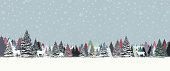 Christmas background with snowed trees. LAyered illustration - global colors - easy to edit.