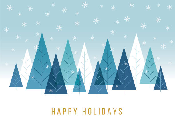 christmas background with trees. - holiday season stock illustrations