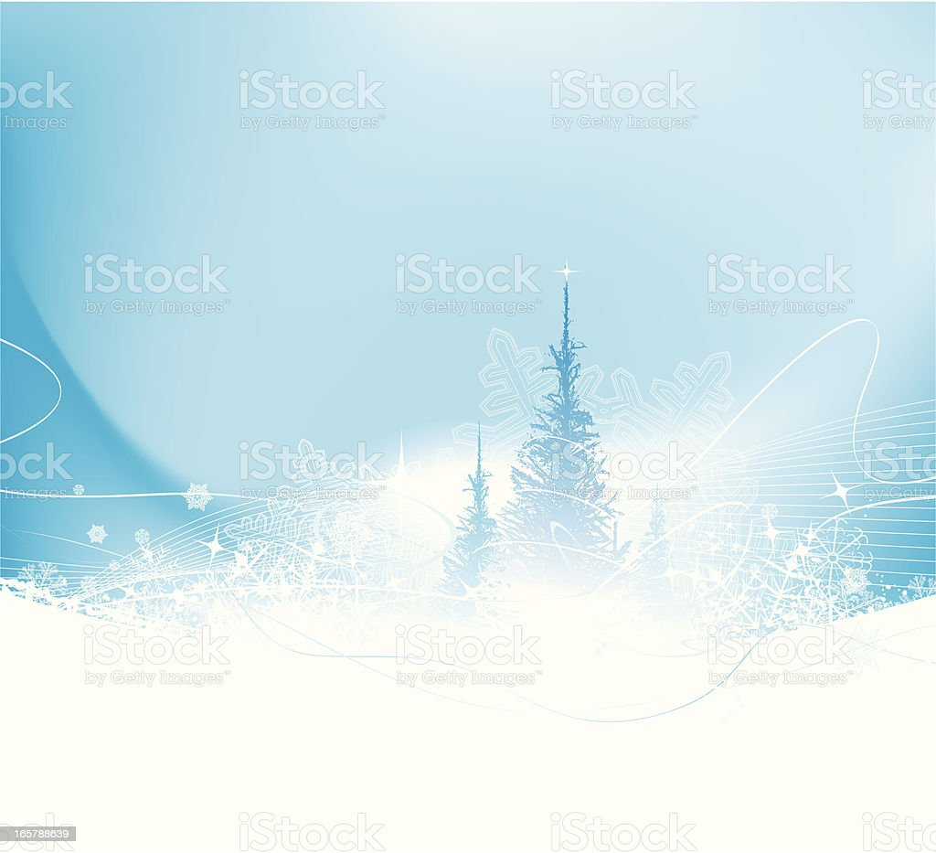 Christmas background with trees vector art illustration