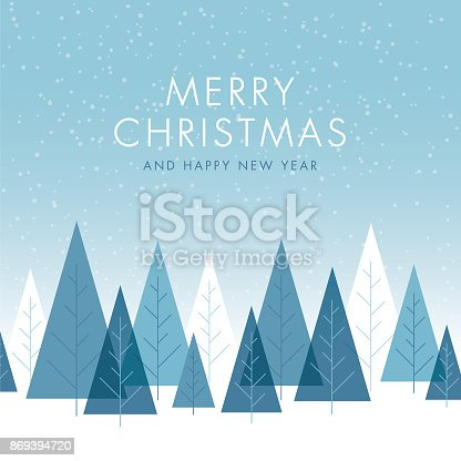Christmas Background with Trees - Illustration