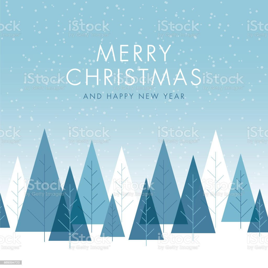 Christmas Background with Trees. vector art illustration