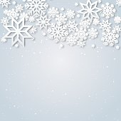 Vector illustration abstract Christmas Background with volumetric snowflakes. Winter paper art design. White 3D snowflakes with shadow. Xmas and new year card template