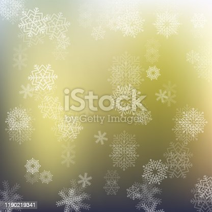 istock Christmas background with white blurred snowflakes, vector illustration stock illustratio 1190219341