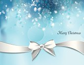 Christmas Background with White Bow.
