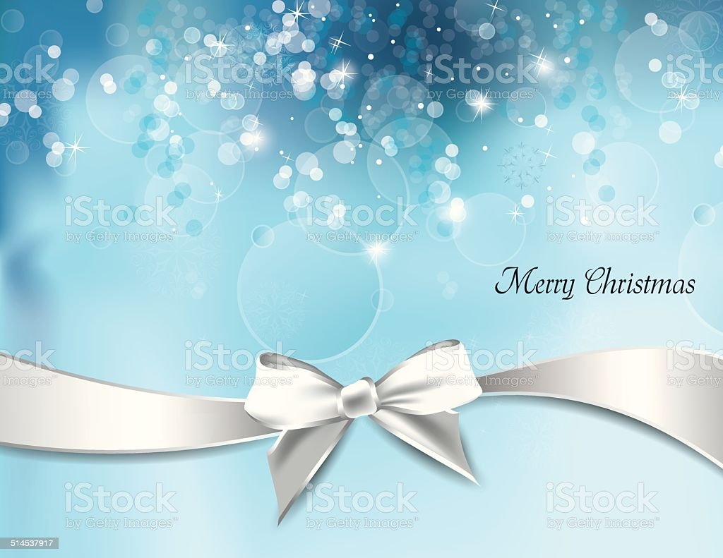 Christmas Background with White Bow. vector art illustration