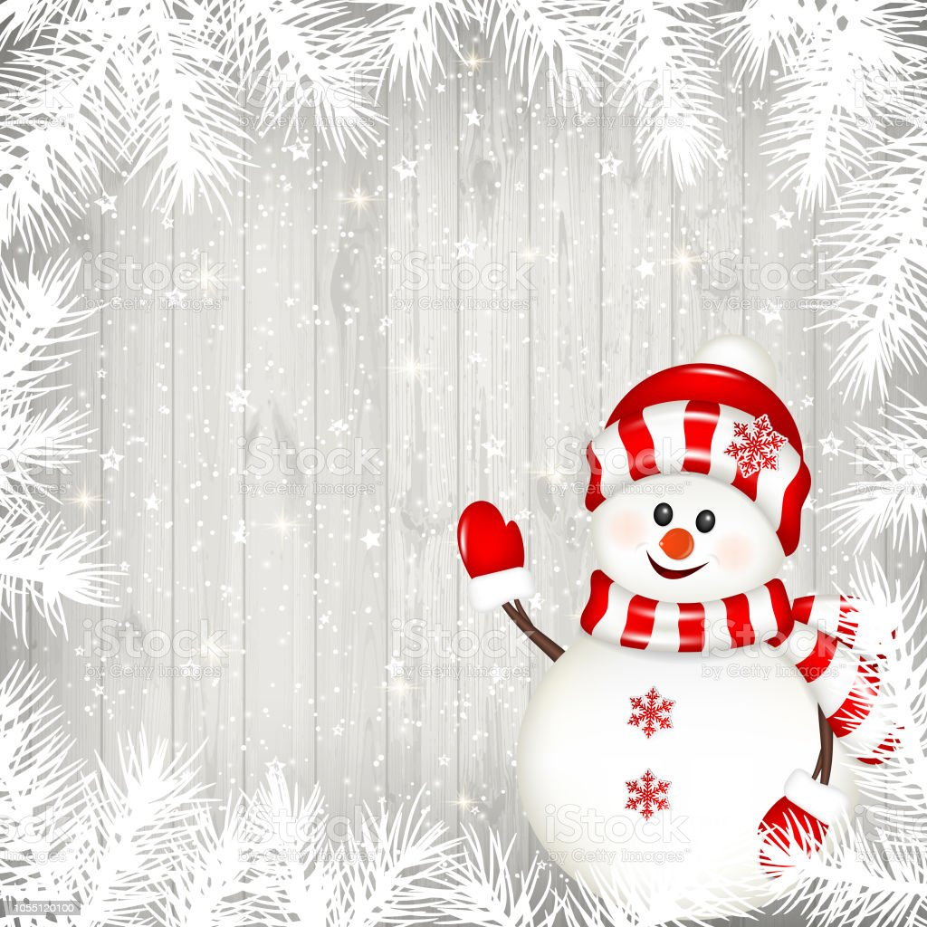 Christmas Background With White Branches And Snowman On Old White ...